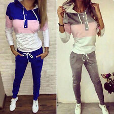 2Pcs Womens Tracksuit Hoodie Sweatshirt Sweater Pants Sports Jogger Outfits Set