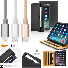 iPad Air/Pro/Mini Folio Case Leather Smart Case Cover+Apple Lightning-USB Cable