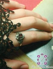 Sterling Silver Garnet Gothic Victorian Poison Ring Secret Compartment Celtic