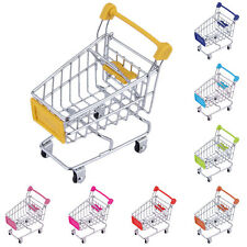 Mini Shopping Trolley Stainless Steel Mini Food Cart Pretend Presentation Basket