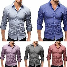 Luxury New Fashion Mens Slim Fit Shirt Long Sleeve Dress Shirts Casual Shirts