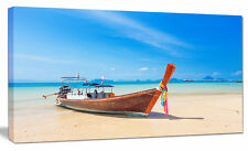 Design Art 'Tropical Beach with Boat' Photographic Print on Wrapped Canvas