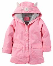 New Carter's Pink Hooded Kitty Cat Raincoat size 2T 3T 4T 5 6 6X NWT Polka Dots