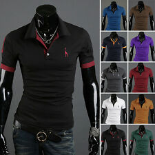 Men's Stylish Slim Fit Short Sleeve Casual POLO Shirt T-shirts Tee Tops 10Colors