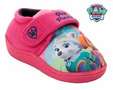 GIRLS OFFICIAL PAW PATROL PUPS CHARACTER PINK SLIP ON SLIPPERS KIDS UK SIZE 5-10