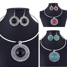 Sets For New Sets Vintage Turqoise Necklace Earrings Women Round Jewelry