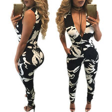Sexy Womens sleeveless V neck print Bodycon Jumpsuit Romper Trousers Clubwear