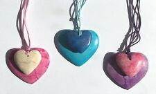 Fair Trade Stone Boho Double Love Heart Pendant Thong Necklace in Gift Pouch