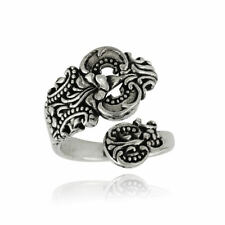 Ornate Spoon Ring - 925 Sterling Silver - Victorian Era Utensils Sizes 6-10 NEW