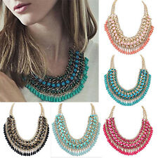 Women Jewelry Pendant Chain Crystal Choker Chunky Statement Bib Necklace jj