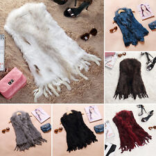 Real By Hand Knitted Rabbit Fur Waistcoat/Vest/Gilet Chic Gift Tassel Fur Coat