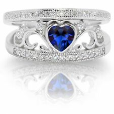 Elegant Blue Sapphire Heart Sterling Silver Rhodium Wedding Engagement Ring Set