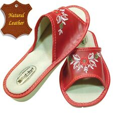 Women's Slippers SCUFF Natural LEATHER red flower SIZE US WOMAN 7 - 10 NEW