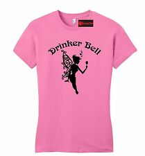 Drinker Bell Funny Juniors T Shirt Cute Fairy Party Alcohol Lover Gift Petite SZ