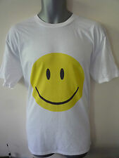 SMILEY FACE LOGO T-SHIRT ACID HOUSE RAVE HARDCORE HAPPY FANCY DRESS RETRO
