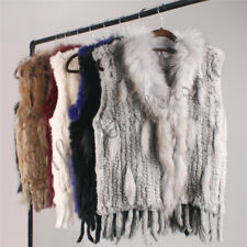 Real Knitted Rabbit Fur Vest with Raccoon Fur collar Women's Sleeveless Outwear