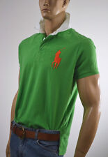 Ralph Lauren Custom Fit Green Rugby Mesh Polo Shirt/Orange Big Pony-NWT