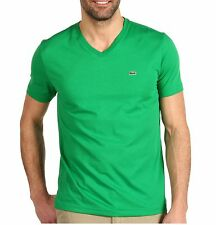 LACOSTE BRAND MEN'S GREEN CROC LOGO PIMA JERSEY CREW OR V-NECK TEE T - SHIRT TOP