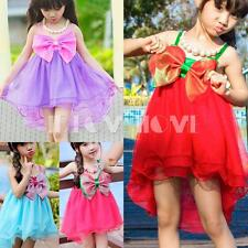 Girl Kid Baby Princess Bow Halter Tulle Wedding Dress Party Pageant Skirt Summer
