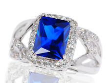 Large Emerald Blue Sapphire Infinity Celtic Crossover CZ Sterling Silver Ring