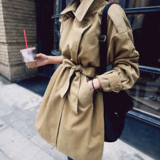 New Womens Mid Long Jacket Slim Fit Khaki Dust Coat Wind Coat Trench Outerwear