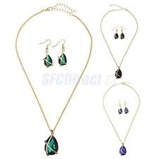 Fashion Womens Gold Plated Jewelry Crystal Charm Necklace Pendant Earrings Sets