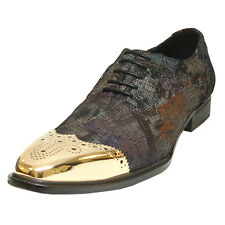 FI-6896 Black Leather Fiesso Gold wing Metal Tip lace up