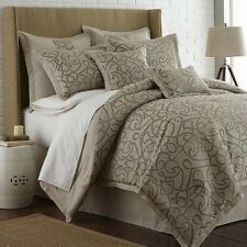 NEW Queen King Bed 8 pc Taupe Brown Microsuede Scroll Comforter Set Elegant NWT