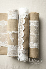 10pcs Burlap And Lace Table Runners Fall Wedding Bridal Shower Decorations