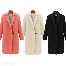 Womens Wool Blend Lapel Long Slim Trench Parka Coat Winter Warm Jacket Overcoat