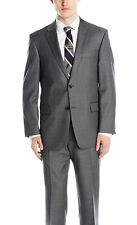 Tommy Hilfiger Trim Fit Gray Stepweave Two Button Worsted Wool Suit