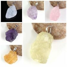 New 1Pcs Alloy Natural Crystal Irregular Stone Charm Pendant Jewelry 7 Colors