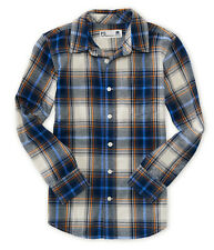 aeropostale kids ps boys' long sleeve plaid flannel woven shirt eggnog