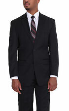 Michael Kors Modern Fit Solid Black Two Button Wool Suit