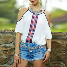 Fashion Sexy Womens Chiffon Tops Tank Short Sleeve T-Shirt Casual Blouse Vest SE