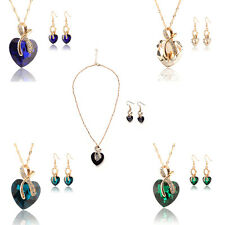 Gold Plated Crystal Heart Necklace Earrings Jewellery Set Bridal Wedding SE