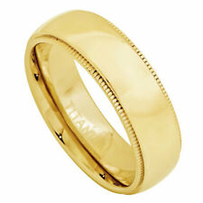 7mm Titanium Band Yellow Gold Plated Domed Titanium Ring with Milgrain
