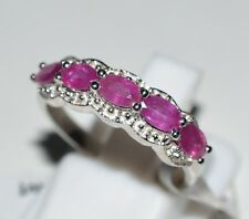 Pure 925 Solid Sterling Silver Genuine Pink Ruby Ring Size 7.0 (US)
