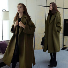 Korean Style Womens Vintage Loose Long Thicken Wool Blend Jacket Casual Coat NEW