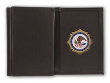 FBI BADGE WALLET BLACK LEATHER, DOUBLE ID, TWO SIZE ID VERSIONS