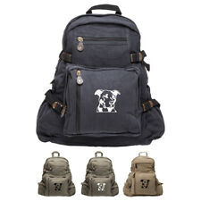 Army Force Gear American Pitbull Dog Silhouette Canvas Military Backpack Daypack