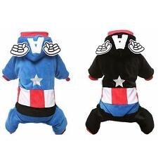 Warm Captain America Pet Costumes Angel Wing Dog Holiday Clothes Suit Apparel