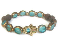 Handcrafted Women's Blue & Gold-tone Bead Hamsa Hand Aromatherapy Bracelet