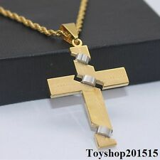 """3mm Mens Cross Gold Silver Twisted Chain Stainless Steel PENDANT NECKLACE 18-32"""""""