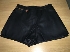 River Island black faux leather skort shorts with rose gold zip size 10