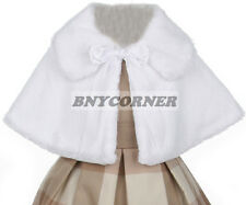 White Kids Faux Fur Ribbon Tie Special Occasion Bolero Cape Flower Girls