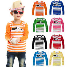 Toddler Kids Boys Girls Mickey Mouse Striped Long Sleeve T-Shirt Tops Tee Blouse