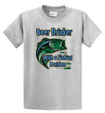 Beer Drinker w/Fishing Problem Printed Tees Mens Reg to Big and Tall Port and Co