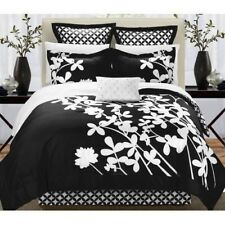 NEW Queen King Bed Black White Floral Geometric Circles 7 pc Comforter Set NWT