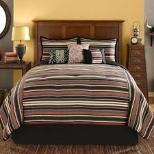 NEW Twin Full Queen King Bed Brown Black Rust Red Striped 7 pc Comforter Set NWT